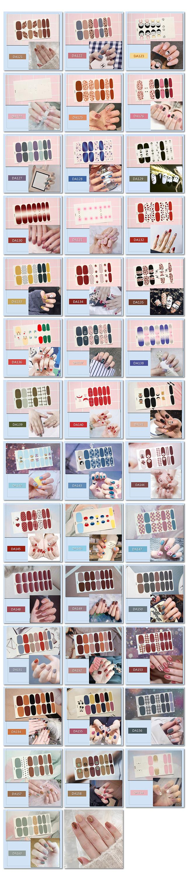 Factory Made Wholesale Custom 3d Nail Art 40 Style Patch Korea Personality Nail Stickers