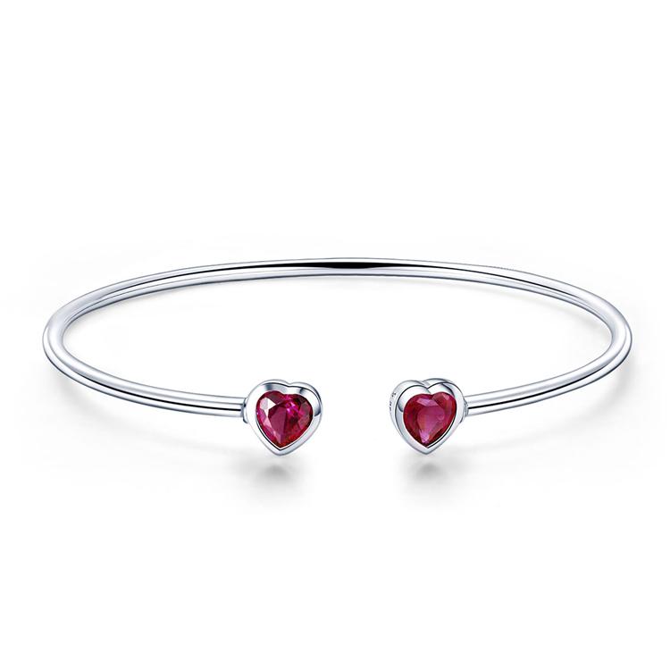 Moda 925 Coração De Prata Esterlina Rubi Gemstone Jóias Cuff Bangle Pulseiras para as mulheres
