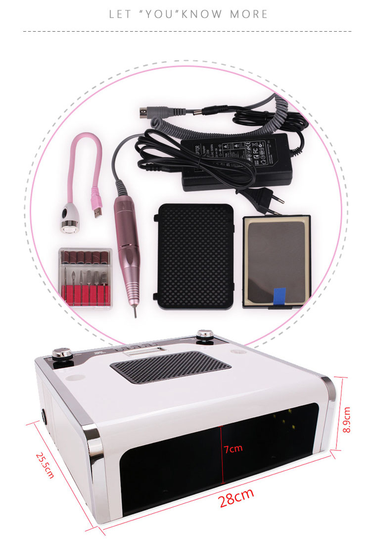 4 in1 nail salon professional manicure art equipment multi-function drill / vacuum cleaner / 108W nail polish dryer / led light
