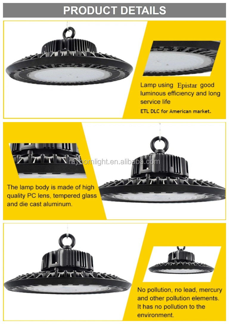 150lm/w Industrial lighting fixture dimmable 250W 200W 150W 100W UFO LED high bay light for warehouse Shop
