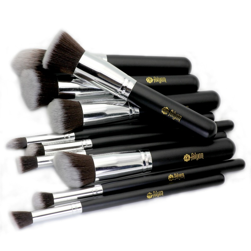 Feiyan Pro10 Pcs Black Silver <strong>Makeup</strong> <strong>Brush</strong> Set with <strong>high</strong> <strong>quality</strong>