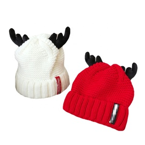 Wholesale High Quality Custom Adult Kids Plain Winter Caribou Hat Christmas Beanies With Ear