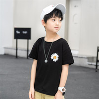 Kids field daisies parent-child clothing children's short sleeve T-shirt pure cotton half sleeve Western-style t-shirt for boys