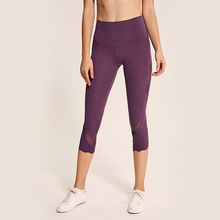 2019 neue Feste Cropped Hosen Engen Yoga Bottom Frauen Mesh Leggings Sport Lauf Gym Cropped Hosen Yoga <span class=keywords><strong>Fitness</strong></span>
