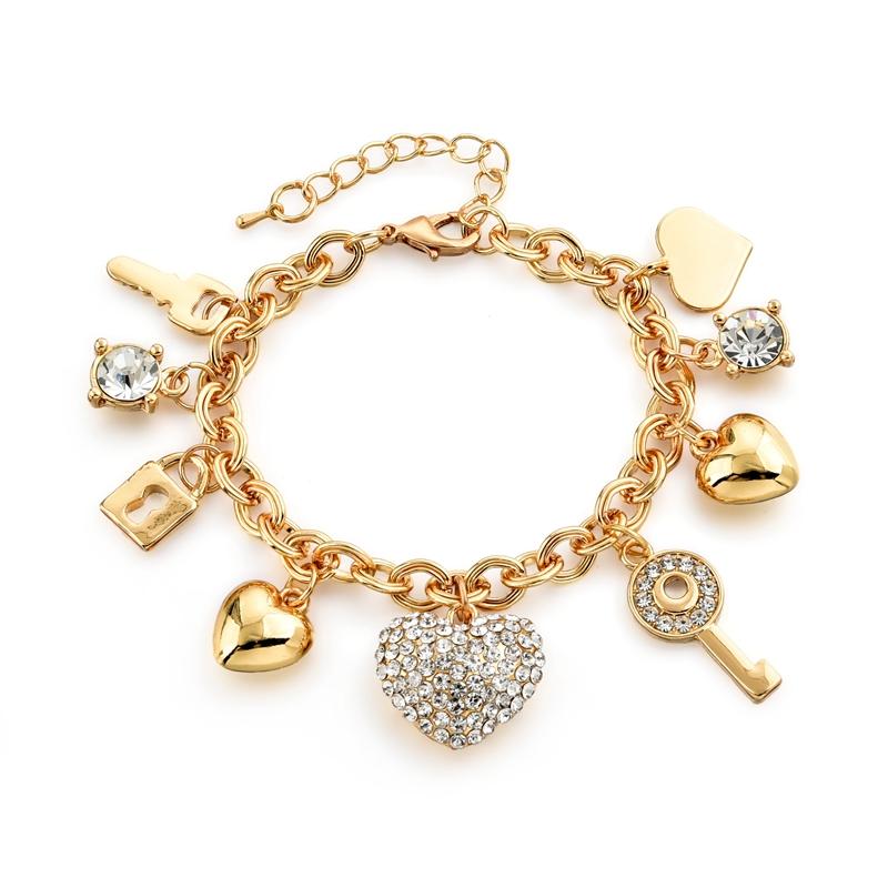 Fashion Heart Beetle Charm Bracelets Bangles For Women Gold Plated Bracelet Austrian Crystal Chain Pulseras SBR140221