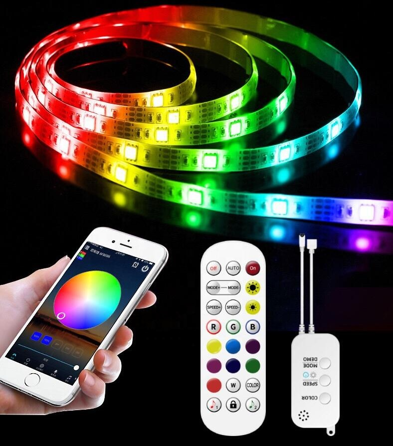 Smart RGB Bluetooth LED Light Strip 10M IP65 300LEDs With Controller Waterproof 5050 LED Strip Light Manufacturer