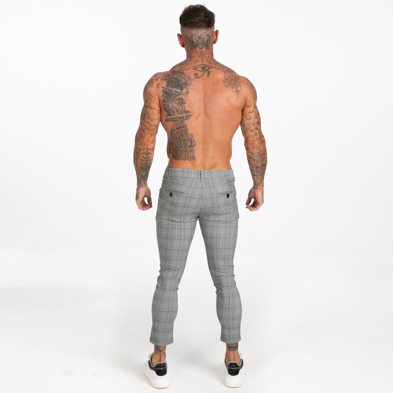Men Skinny Chino Pants Grey Ankle Length Super Stretch Casual Pant Designer Plaid mens trousers