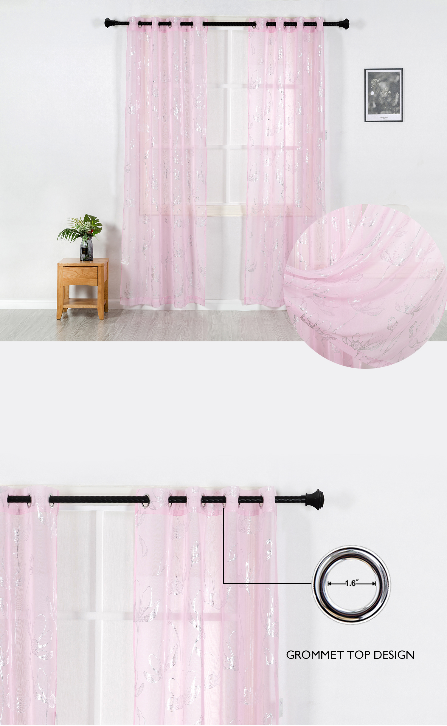 Romantic pink metallic silver printed wholesale sheer curtains for living room