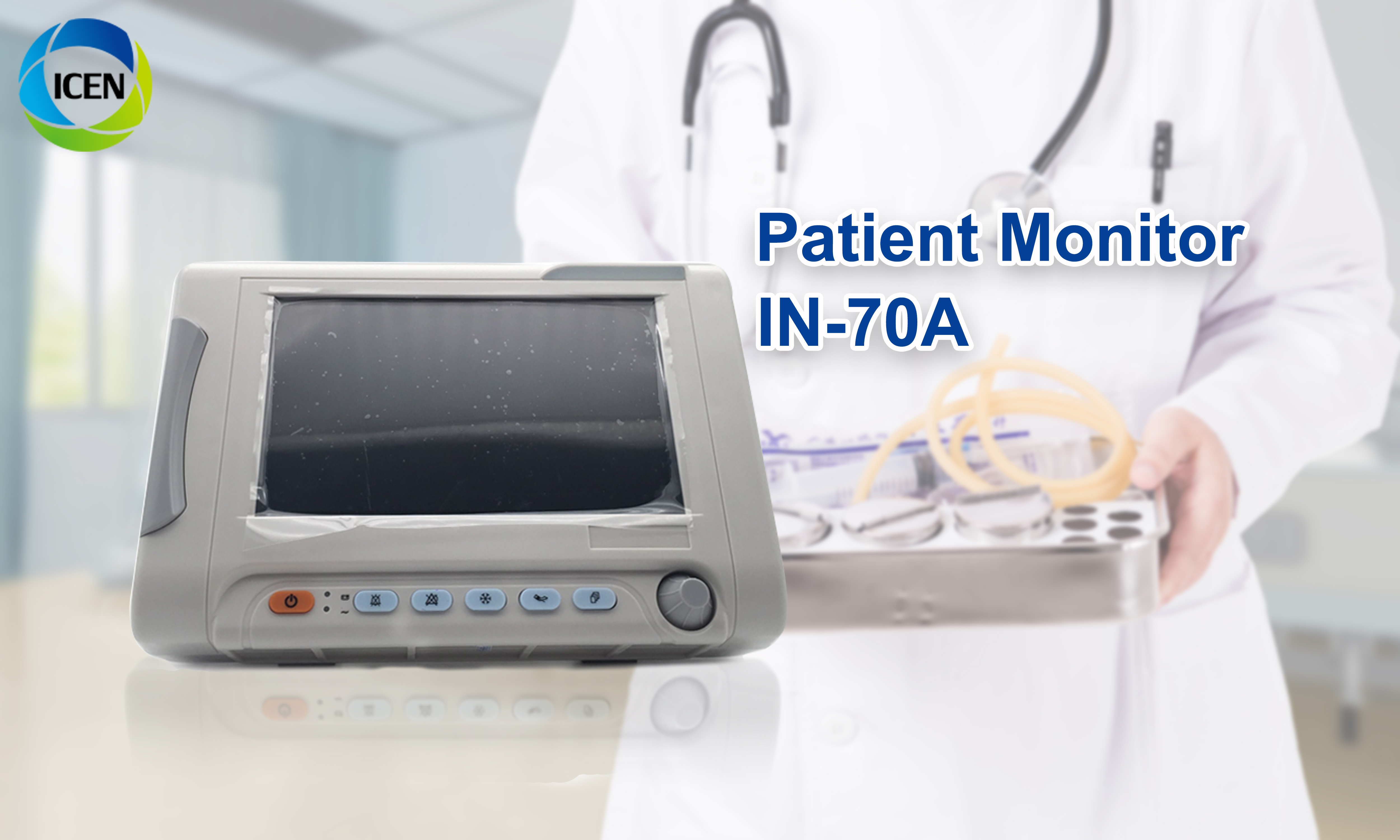 IN-70A suitable for moving operation 7'' Multi-parameter Patient Monitor cheap ambulance patient monitor for sale