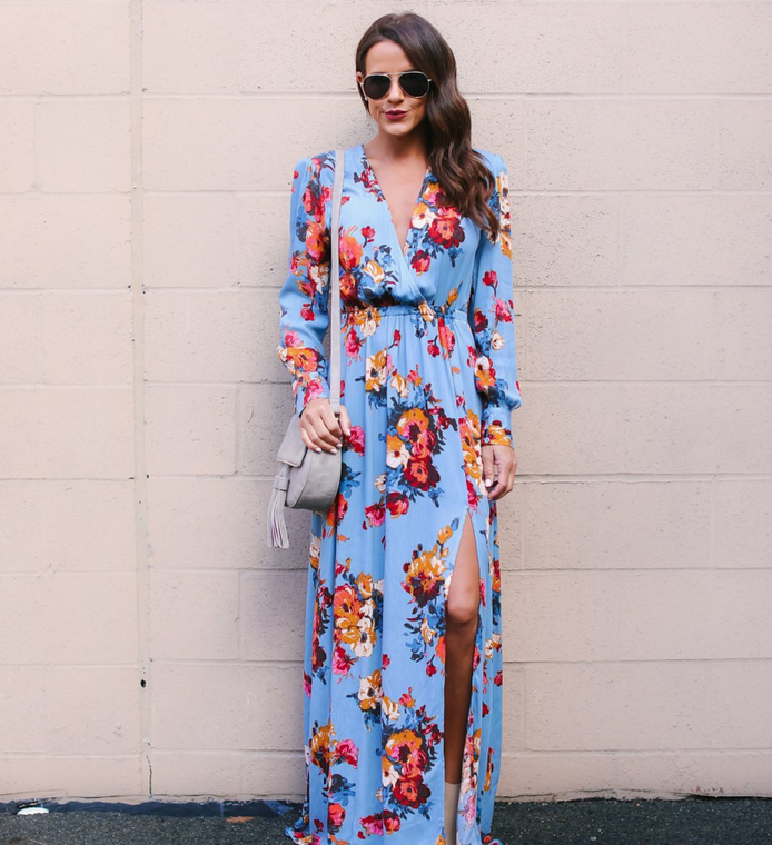 Women 3/4 Sleeve Floral Print <strong>Faux</strong> <strong>Wrap</strong> Long Maxi Dress with Belt