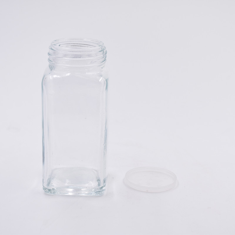 4 oz 6 oz 120ml 180ml clear square glass spice jars glass bottles for herb seasoning storage with shaker tops silver metal lids