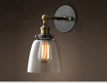 Vintage glass wall light iron Retro industrial wall lamp E27 110V 220V