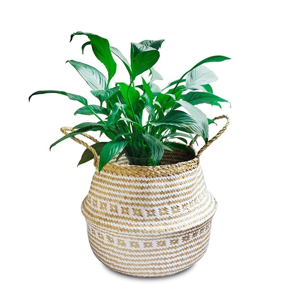 32*28cm Natural Seagrass and Cotton Rope <strong>Basket</strong> - Home Decor, Plant Pot Cover Nursery <strong>Basket</strong> Housewarming Gift