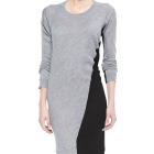 Colorblock knit bodycon dress long sleeve women tight dress custom