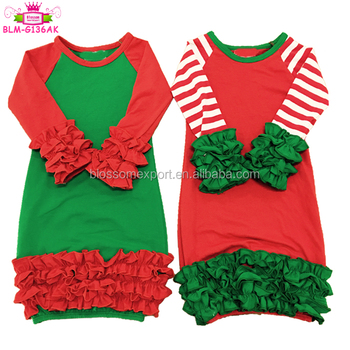 Christmas latest design baby girls gowns children long raglan sleeve ruffle baby gowns
