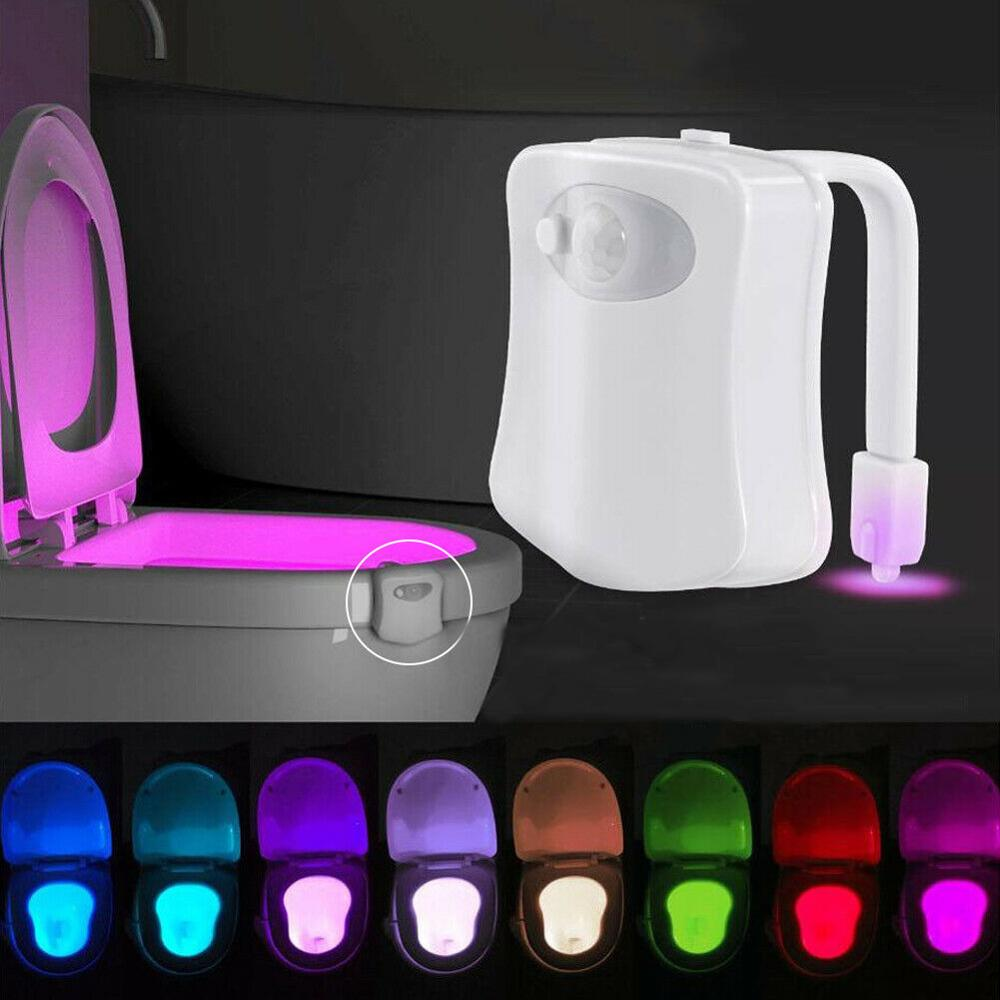 Waterproof LED Toilet Night <strong>Light</strong> Motion Sensor 8 <strong>Color</strong> Changing Seat Lamp For Kids Bathroom Safe WC Toilet Bowl