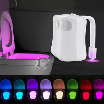 Waterproof LED Toilet Night Light Motion Sensor 8 Color Changing Seat Lamp For Kids Bathroom Safe WC Toilet Bowl