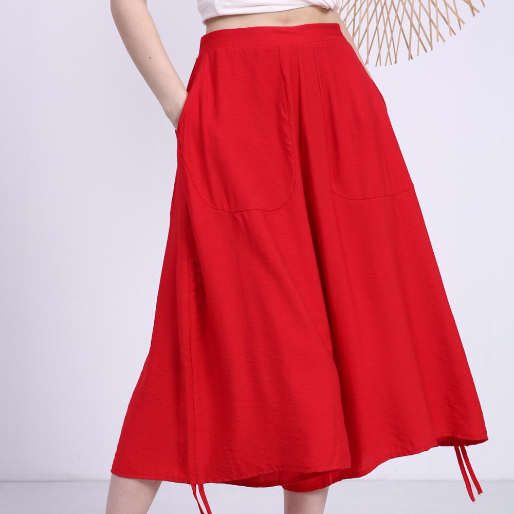 New drawstring irregular wide-leg pants women's counter with the same casual seven-point pants women 2020 summer [E2T]