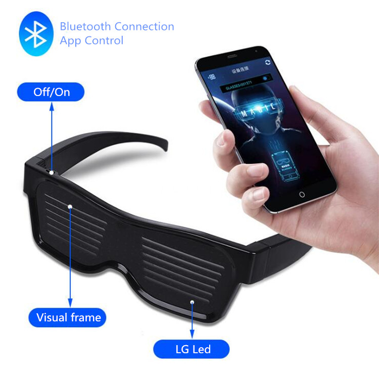 2019 OEM Luminous Glasses USB Charge Christmas Concert App Control Flash Party Light Programmable LED Sunglasses
