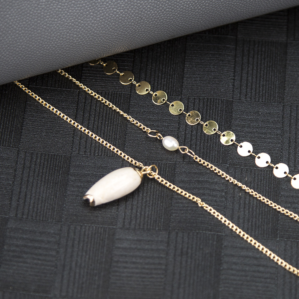 New necklace jewelry simple sequin clavicle chain fashion pearl natural open conch pendant necklace wholesale