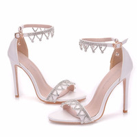 Plus Size High Heel Elegant White One-button Buckle Shoes Crystal Bridal Wedding Shoes