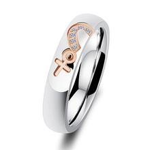 Новинка, кольца в форме сердца из титановой стали для женщин, винтажные кольца, бижутерия, пара, обручальное кольцо для мужчин, индивидуальн...(Китай)