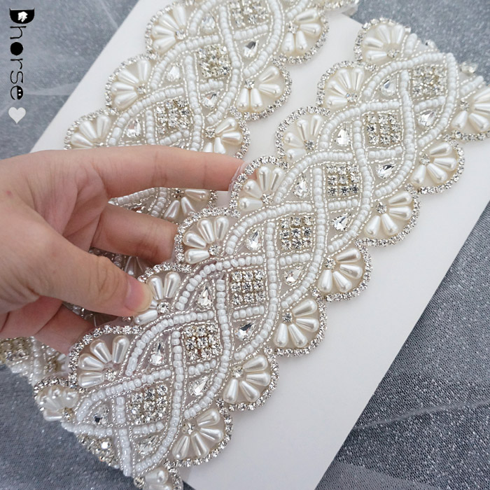 Custom handmade luxury pearl and crystal beaded rhinestone applique trimming for wedding sash