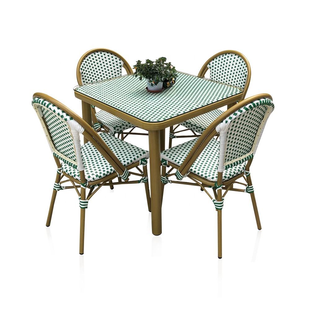 (SP-OC429) Современные уличные стулья для кафе, столы, садовые наборы, алюминиевая мебель из ротанга для ресторана
