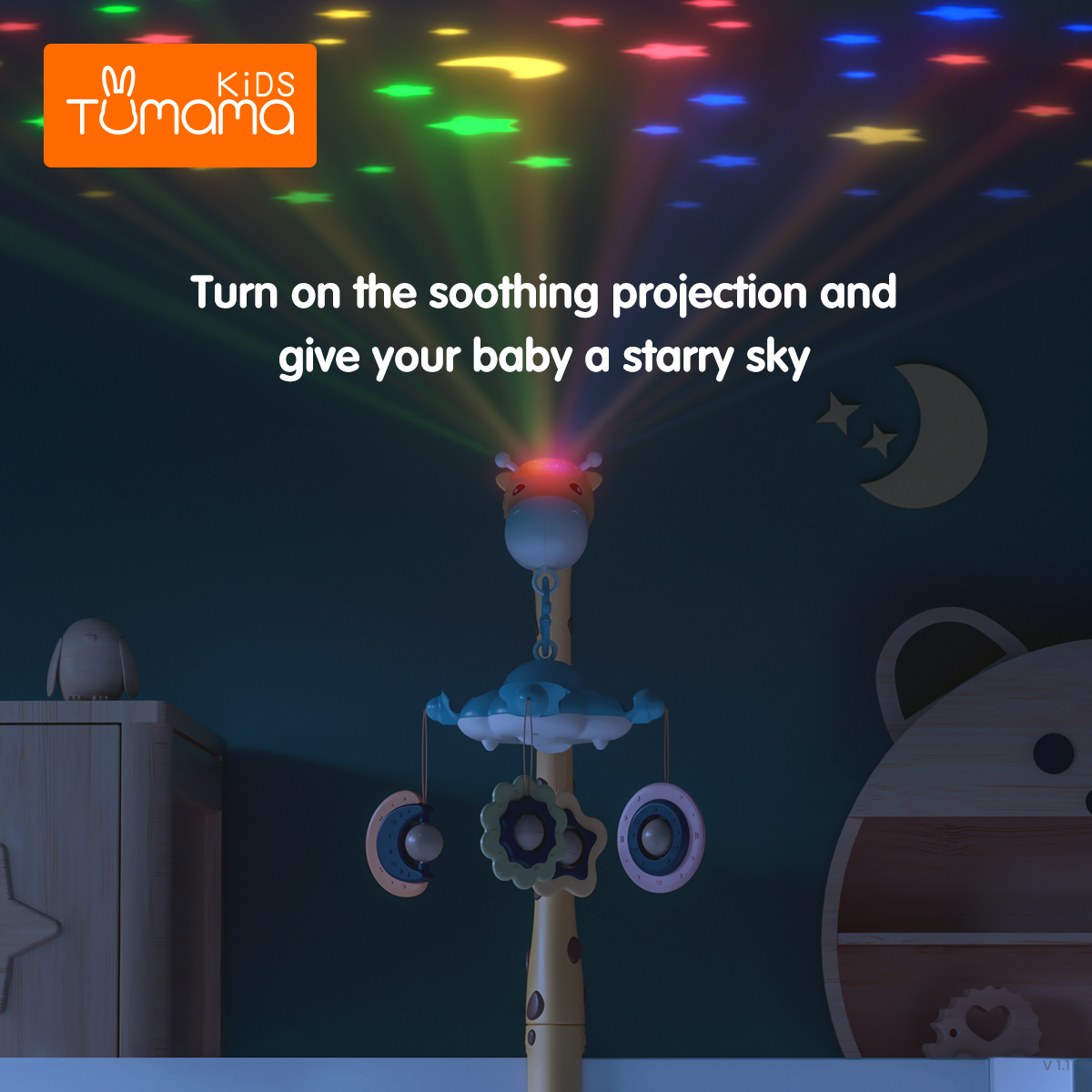 New born baby mobile musical toy 360 rotation plastic fel baby crib mobile