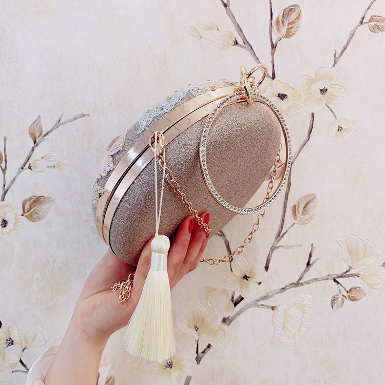 2019 new one-shoulder slanting cross-fashion hand-made circular hanfu dress qipao classic style famous lady tassel bag