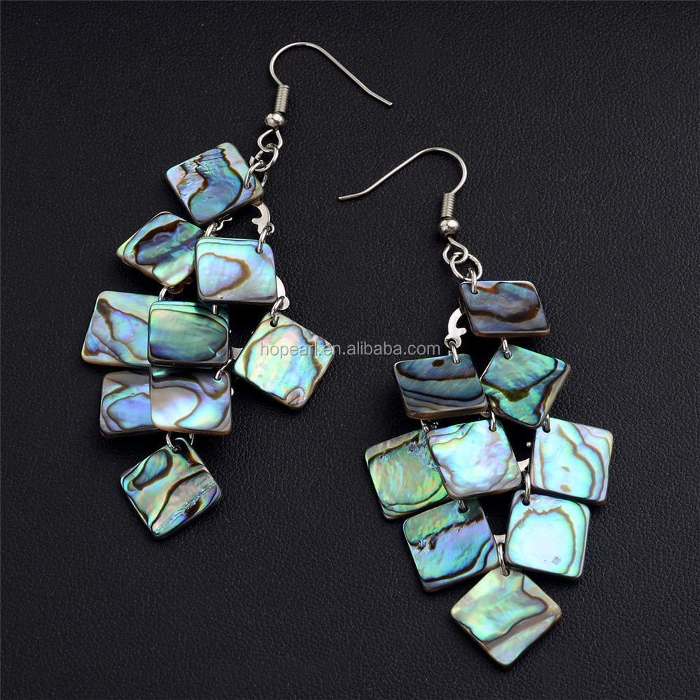 MOP139 Abalone Paua Shell Earrings Bohemian Ocean Theme Dangle Chandelier Earrings for Women