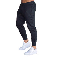 Mens Sport Fitness Cotton Jogger Trouser Pencil Pants Elastic For Gym Running Work Out