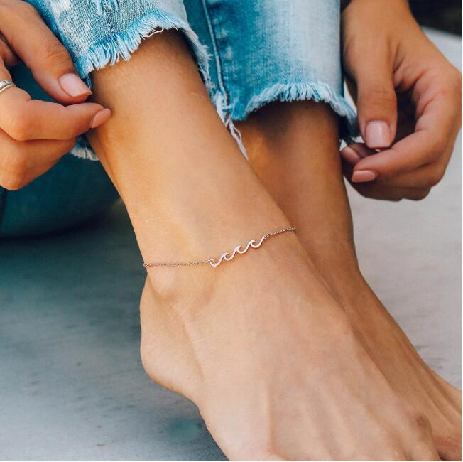 Trending 2020 Summer Dainty Beach Boho Style Jewelry Delicate Stainless steel Silver Gold Rose Gold Women Wave Anklet