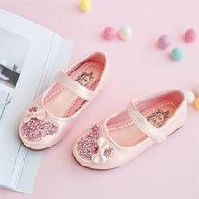 Новинка 2020 года; детская элегантная обувь принцессы из искусственной кожи; свадебные туфли для девочек; вечерние туфли с бусинами для девоч...(China)
