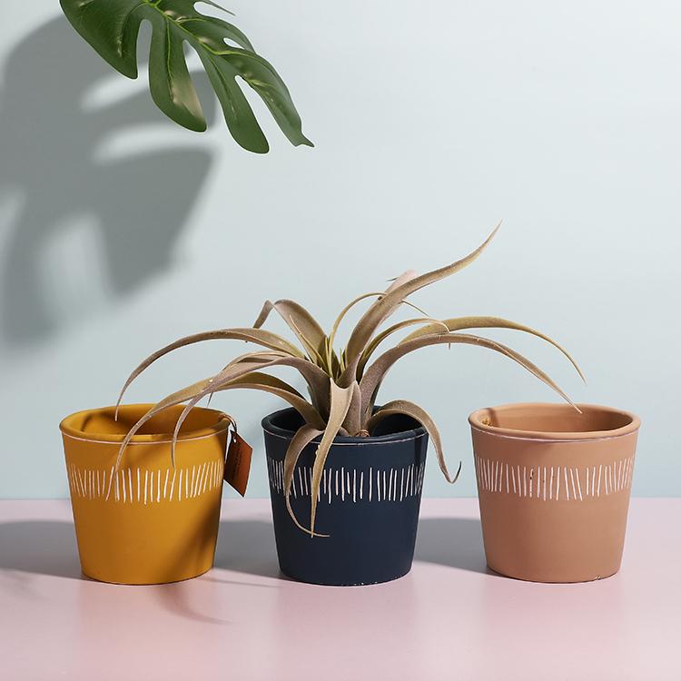 Modern simplism style patio outdoor decorative cement mini garden bonsai plant pots for home decorating