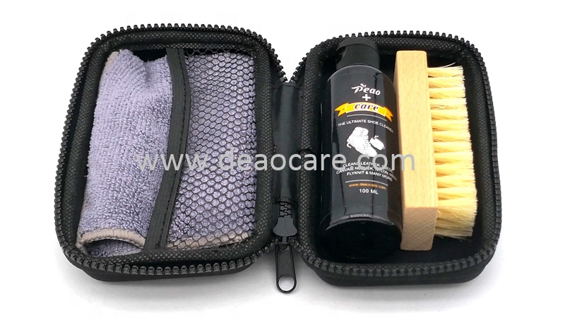 Deaocare New design Travel Pack Sneakers Boot Shoe Care Cleaner Case Kit Cleaning Liquid With Towel Hog Brush