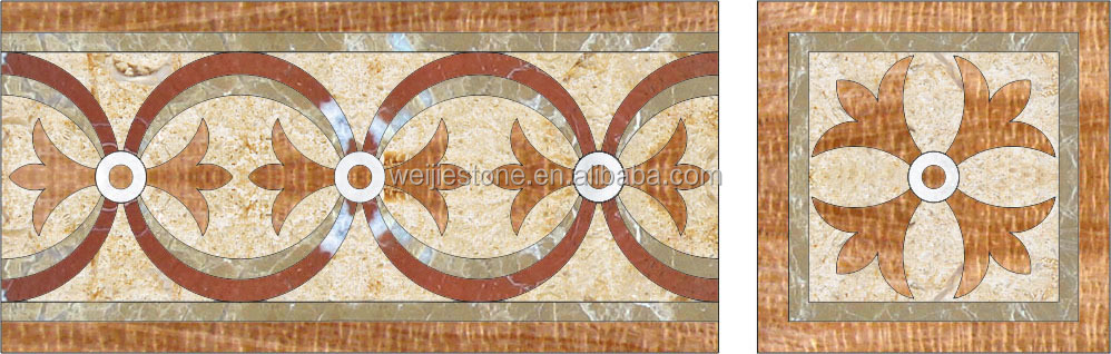 Newest Water Jet Pattern Hall Floor Colorful Marble Border