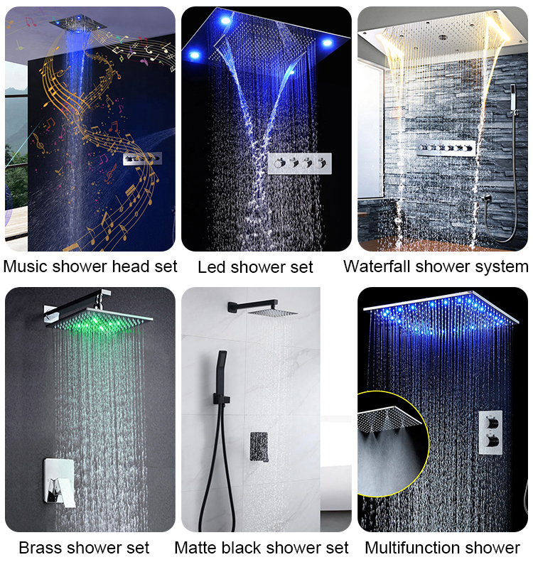 Bathroom Accessories Shower Kit 10 Inch Squate Rainfall LED Shower Head Faucet Hot And Cold Valve With Embedded Box
