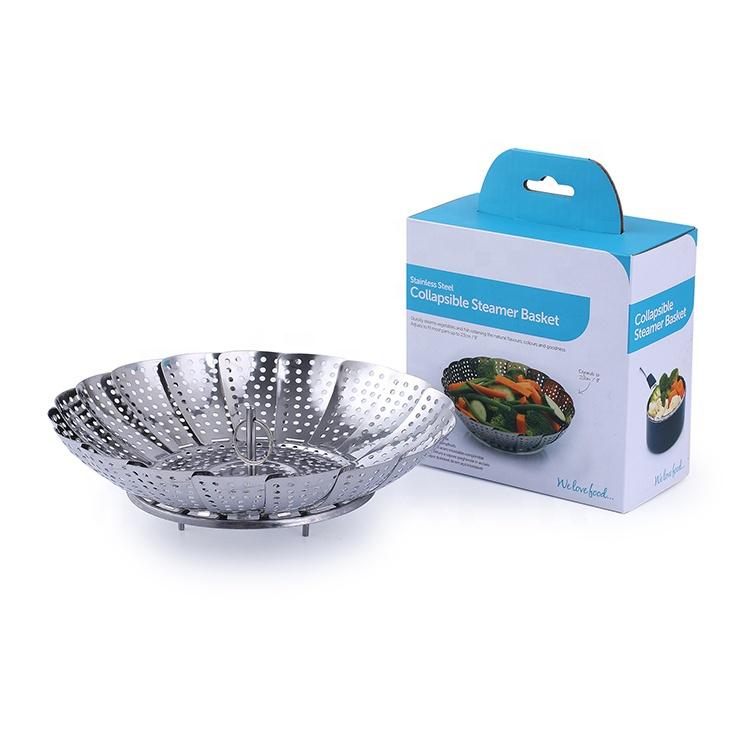 高品質のステンレス鋼折りたたみ野菜蒸し器バスケット