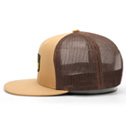 Custom Brown Leather Mesh Trucker Caps Hats Custom Factory 6 Panel Snapback Adult Caps Flat Bill Structured Trucker Brown Mesh Hats With Leather Patch