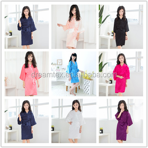 flower girl  robes Wholesale  artificial SILK  bride maids morning wear robes wedding  group make up  robes