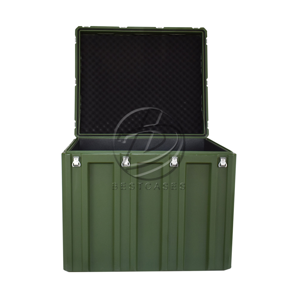 Black durable plastic 94x80x82cm military transport tool box