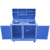 Colorful Blue Mobile Flight Case for cafeteria kitchen refrigerator with table