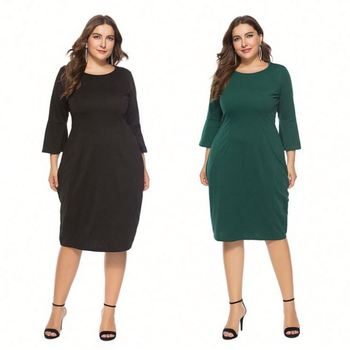 09001DA Hot Casual Solid Bell Sleeve Knee Length Comfortable Boutique Wholesale Women Plus Dress for fat women