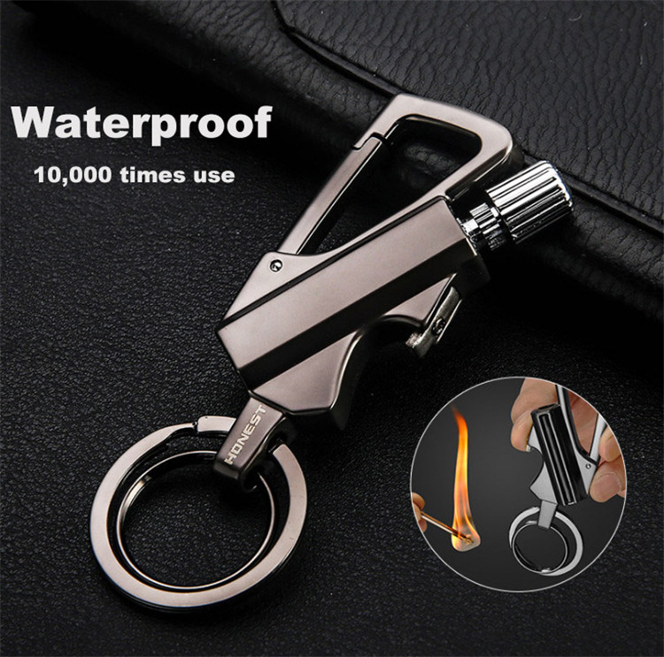 Epsilon Multi Function Mini Rechargeable Bottle Opener Metal Permanent Matchstick Match Oil Lighter Holder Keychain With Lighter