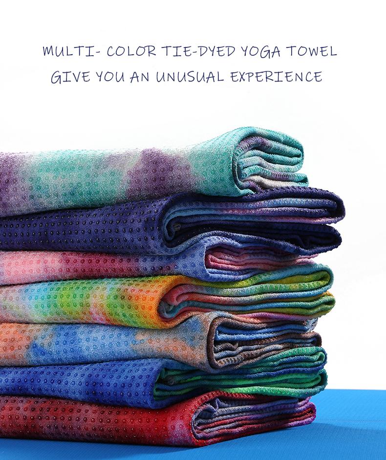 Custom Logo Anti Not-Slip Tie Dye Organic Microfiber Hot Yoga Towel