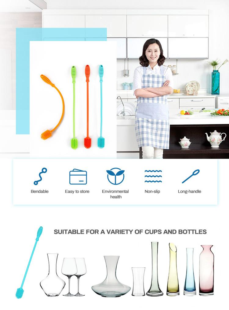 12 дюймов бутылки вина очистки Многофункциональный очиститель для стиральной машины подача Bpa Free гибкий шапки оптовой цены силиконовые набор кистей
