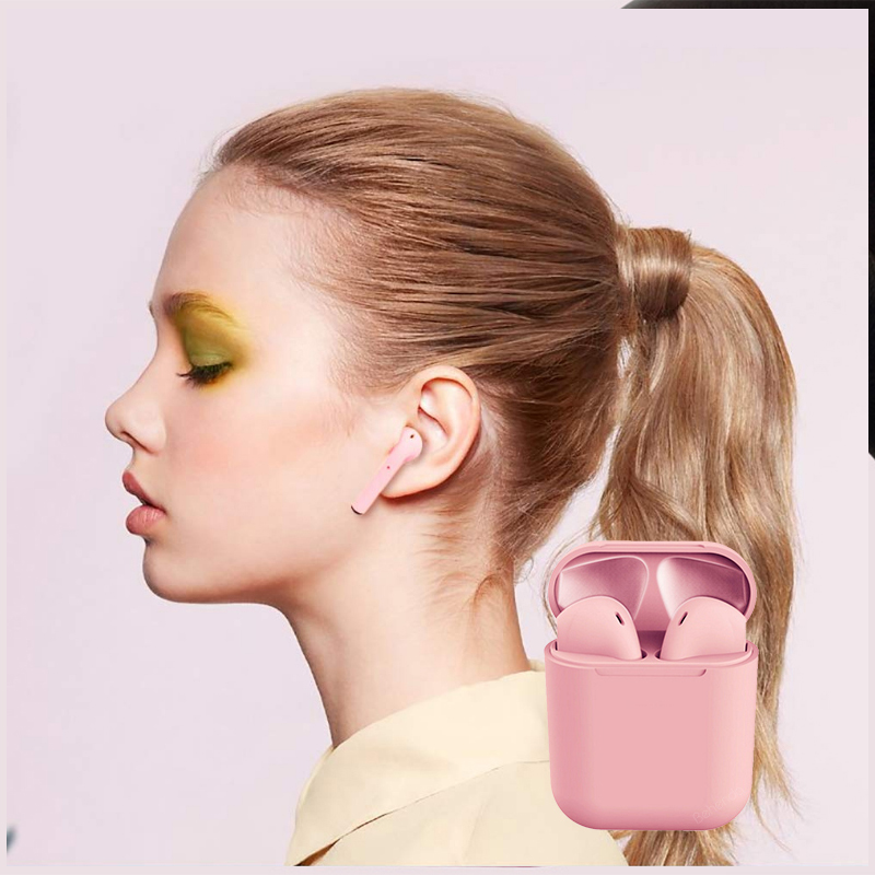 New Arrival Macaron  i12 Earbuds tws Wireless Earphone Bluetooth Earbuds i12 With Touch Control Blue Pink Green Yellow