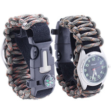 Verstelbare Reizen Waterdichte Multifunctionele Survival <span class=keywords><strong>Paracord</strong></span> Armband <span class=keywords><strong>Horloge</strong></span>
