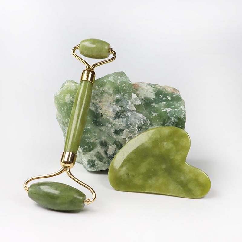 ミニ自然ネフライトマッサージローラーカスタム顔緑のヒスイ肌面石ボールローラー瓜沙マッサージとボックス販売のための